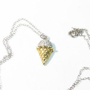 Ice Cream Cone Necklace 925 Sterling Silver CZ